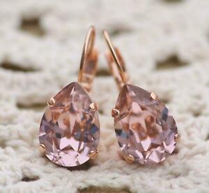 4Ct Pear Cut Peach Morganite Diamond Hoop Women's Earrings 14K Rose Gold Finish