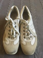 Mens ecco tennis shoe size 6 Euro  39 leather and suede In White.