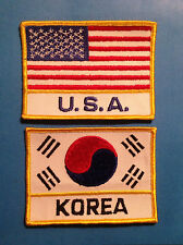 2 Lot Vintage Korea Usa Flag Taekwon Do Tkd Martial Arts Gi Patches Mma 331