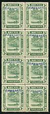 Japanese Occupation of Brunei SGJ4 3c Blue-green U/M Block of Eight