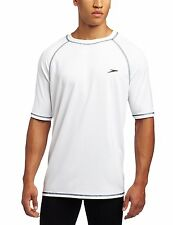 Speedo Mens UPF 50+ Easy Short Sleeve Rashguard Swim Tee, White, XX-Large
