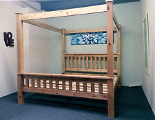 4ft6 Double Four Poster Bed Frame Solid Pine Wood HIDDEN FITTINGS Chunky Style