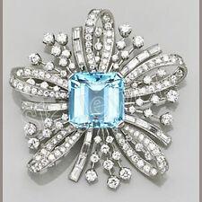 3.20ctw NATURAL DIAMOND 14K SOLID WHITE GOLD BLUE TOPAZ GEMSTONE BROOCH PIN