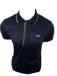 HUGO BOSS PAULE 4 POLO SHIRT MENS INK/GOLD XLARGE PRICE £49.99 BNWT