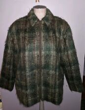 OLSEN COLLECTION OLIVE GREEN MOHAIR PLAID COAT JACKET 12 LADIES L FALL ZIP FRONT