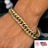 "Mens Real Solid 18K Gold Stainless Miami Cuban Bracelet 12mm 6-11"" Heavy Link"