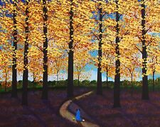 Australian Cattle Dog Blue Heeler Forest Large Art Print Todd Young Autumn Path