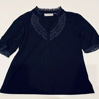 Simonton Says by George Simonton Blouse Womens Sz L Black Polka Dot Trim