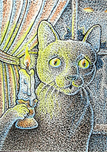 ACEO  Fantasy Original Cat in a Creepy House (Halloween)