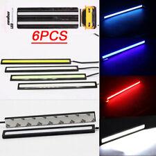 6PCS Bright Car COB LED Light DRL Fog Strip Daytime Running Lamp Blue Red White