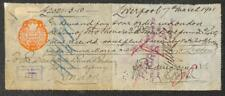 BILL OF EXCHANGE LIVERPOOL ENGLAND EMBOSSED ONE PENNY BANK CHECK 1901