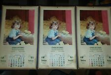 3-1952 NUTRENA POULTRY FEED FISHER HATCHERY HAPPY CHILDHOOD DAYS CALENDER RARE