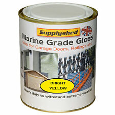 Supplyshed GLOSS BRIGHT YELLOW GARAGE DOOR PAINT for Fibreglass and Metal 750ml