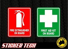 FIRE EXTINGUISHER & FIRST AID ON BOARD CAR UTE EMERGENCY STICKER DECAL SET OH&S