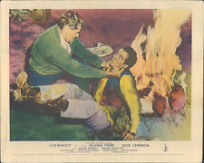 Cowboy original lobby card Glenn Ford Jack Lemmon fight near camp fire
