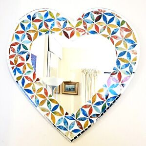 Heart shaped floral mosaic wall mirror, multicoloured 40cm-hand made in Bali-NEW