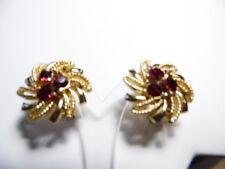 Vintage Gold Tone FlowerShape Red Rhinestone Clip-On Earrings Signed Listner