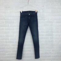 J Brand Womens Size 26 Super Skinny Jeans Stretch Medium Wash EUC Whiskering