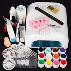 36W White Cure Lamp Dryer+12 Colors Acrylic UV Gel Nail Art Tools Set Kit New