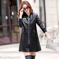 2016 Winter Women Windbreaker Coat Slim Leather Collar Long Jacket Windbreaker