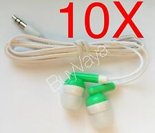 10x  Disposable head Phones Or Ear Buds green Color  Stereo Sound Good Quality