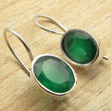 Style Fix Wire Earrings 7/8 Inch 925 Silver Overlay Original Green Onyx Standout