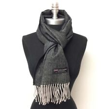 100% CASHMERE SCARF HerringBone Tweed Black Gray SCOTLAND SOFT Warm Wool WRAP