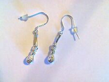 Handcrafted 925 Sterling Silver Small Money Bag Good Fortune Charm Earrings