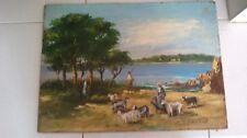 """GIRAUDON Peintre provençal TABLEAU HUILE """"Gardeuse de chèvres bord de l'eau"""""""