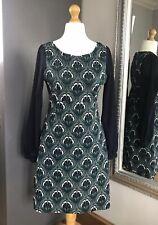 Para Mujer Vestido Naf Naf talla M Sheer manga diseño de la Flor De Pavo Real Verde Azul Blanco