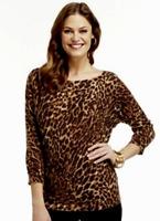 Chaps Leopard Dolman Cotton Sweater XL NWT $79