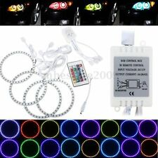 4x Multicolor RGB 120MM 5050 SMD LED Flash Angel Eye Halo Ring w/ Remote Control