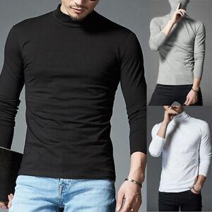 Hommes Rouleau Entonnoir Cou Manches Longues Pull T-Shirt sous-Pull Col Roulé