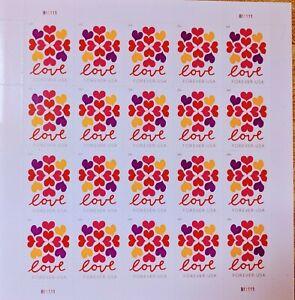 USPS FOREVER LOVE HEART STAMPS 5 SHEETS OF 20 *FV $58.00* 100 TOTAL  STAMPS