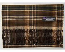 100% Cashmere Scarf Brown Tan Check Tartan Graham Plaid SCOTLAND Wool Women R942