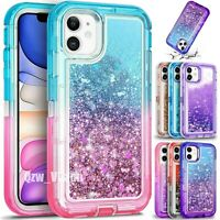 For iPhone 12 Mini 11 Pro Max Shockproof Liquid Glitter Defender Protective Case