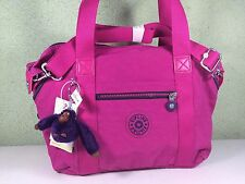 New Kipling Art U Very Berry Pink Purple Convertible Satchel Tote Crossbody Bag