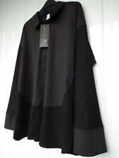 MarlaWynne Mix Media Poplin Shirt Black Size 2XL
