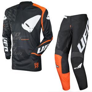 UFO Indium Motocross Race Kit Pants and Shirt Combo Black Orange - All Sizes