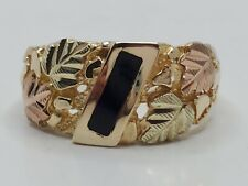 Style Black Onyx Inlay Ring Size 10 Mens 10k Solid Yellow & Rose Gold Nugget