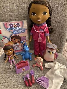 "Doc McStuffins 12"" Doll Bundle, DVD, Stuffy Dragon, Hootsburgh Owl, Mini Doc Set"
