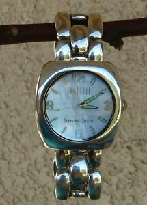 """Ecclissi Solid Sterling 104 g Watch MOP Dial Panther Bracelet 7"""" New Battery"""
