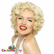 Womens Ladies Official Marilyn Monroe Curly Blonde Wig Fancy Dress Accessory