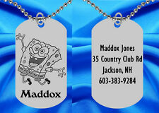 Spongebob Squarepants Dog Tag Necklace for Kids, Personalized FREE with NAME!