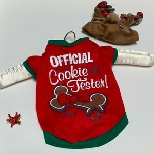 Pet Christmas Costume Dog Cat Shirt Pullover Clothes Official Cookies Tester Red