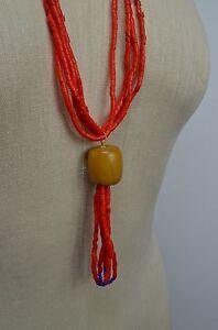 Artisan SUNDANCE Santo Domingo Red Beaded Wrapped Leather & Stone NECKLACE