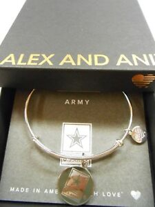 Alex and Ani US ARMY Expandable Wire Bracelet Shiny Silver NWTBC