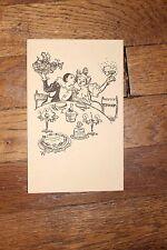 ✒ Adolphe WILLETTE gravure originale pour faire un MENU Pierrot à table