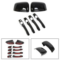 Black Mirror Covers + Door Handle Covers Fits For Grand Cherokee Durango