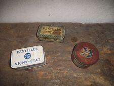 "Lot de 3 Boites en fer Pastilles"" VICHY-ETAT"""
